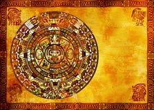 Maya calendar. On ancient wall Stock Photos