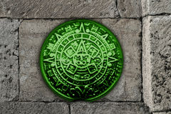 Maya calendar. On gray stone background stock illustration