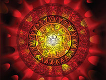 Maya calendar on a end of days background. 2012 prohecy of the Maya's, showing a Mayan calendar on a hot fiery explosive apocalypse background Royalty Free Stock Image