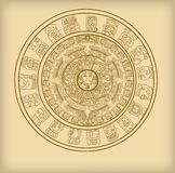 Maya calendar of Mayan or Aztec hieroglyph signs. And symbols vector illustration