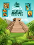 Maya Cartoon Poster. With elements of ancient aztec culture and chichen itza pyramid image on mexico nature background vector illustration Royalty Free Stock Photo