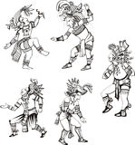 Maya characters dancing Royalty Free Stock Photos