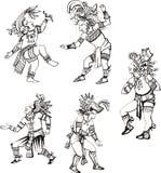 Maya characters dancing Royalty Free Stock Photos