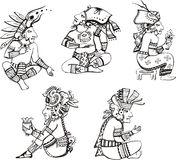 Maya characters sitting Royalty Free Stock Photo