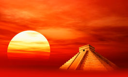 Maya civilization. On sunset background stock illustration
