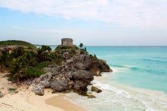 Maya Civilization. Old civilization Maya  building near the coast Stock Photos