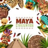 Maya Civilization Cartoon Frame royaltyfri illustrationer