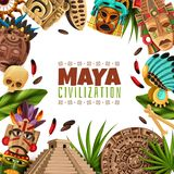 Maya Civilization Cartoon Frame. With chichen itza pyramid mayan calendar masks and accessories of ancient aztecs vector illustration royalty free illustration