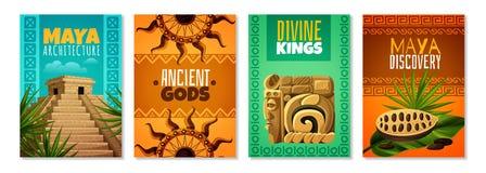Maya Civilization Cartoon Posters. With divine kings ancient gods architecture landmark decorative symbols isolated vector illustration vector illustration