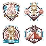 Maya Civilization Emblems Set colorée par vintage illustration de vecteur