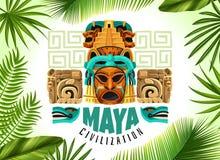 Maya Civilization Horizontal Poster. With mayan mask and fragments of ancient calendar cartoon vector illustration vector illustration