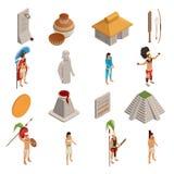 Maya Civilization Isometric Icons illustration stock