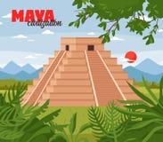 Maya Pyramids Doodle Background. Maya civilization landscape illustration with outdoor jungle scenery with skyline and pyramid shaped ancient maya building stock illustration