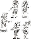 Maya cleric characters Stock Image