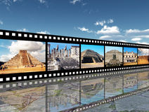 Maya Culture. Computer generated 3D illustration with maya pyramids on a filmstrip Stock Photography
