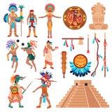 Maya Culture Elements Set. Maya civilization set of isolated ethnic items idols and human characters elements of american tribal culture vector illustration stock illustration