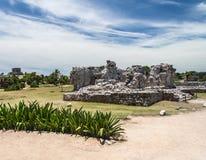 Maya de Voorzijde van de Tempel in Tulum Mexico Stock Foto's
