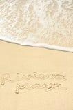 Maya del Riviera scritto in sabbia sulla spiaggia Fotografie Stock