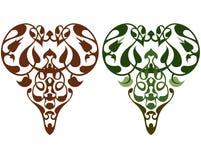 Maya elements. Maya style heart elements looks like garden flowers Stock Photo