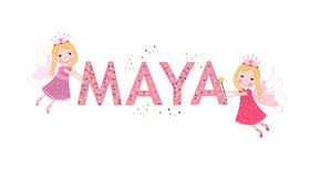 Maya female name with cute fairy tale. Background Royalty Free Stock Photos