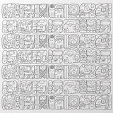 Maya glyphs background. Vector handmade illustration of some maya glyphs as background or wallpaper stock illustration