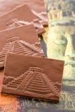 Maya glyphs. Gourmet Maya glyphs in milk chocolate Royalty Free Stock Photography