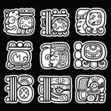 Maya glyphs, writing system and languge  design  on black background Royalty Free Stock Photography