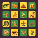Maya Green And Yellow Icons Set Stock Images