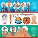 Maya Horizontal Banners Set ilustração do vetor