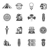 Maya Icons Black. Set with traditional mexican indian culture symbols vector illustration stock illustration