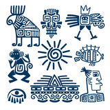 Maya or inca blue totem icons. Maya or inca style blue linear totem icons. Aztec ancient symbols isolated on white background Royalty Free Stock Photos