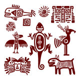 Maya or indian traditional signs. And symbols on white background. Vector illustration stock illustration