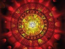 Maya kalender op een eind van dagenachtergrond Royalty-vrije Stock Afbeelding