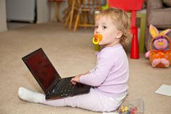 Maya with laptop Royalty Free Stock Images