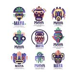 Maya logo original design set, emblems with ethnic mask, Aztec signs vector Illustrations on a white background. Maya logo original design set, emblems with Royalty Free Stock Photo