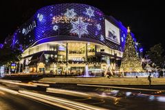 Maya Mall Christmas decorations at night in Chiang Mai royalty free stock photography