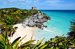 maya mexico fördärvar tulum Arkivfoton
