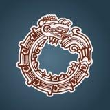 Maya ouroboros van slangQuetzalcoatl Stock Afbeeldingen