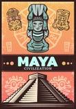 Maya Poster antiga colorida vintage ilustração royalty free