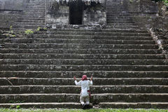 Maya priest. In Guatemala, performing offering ceremony at Tikal Royalty Free Stock Photography