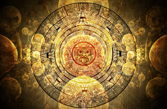 Maya prophecy. Horizontal background with Maya calendar Royalty Free Stock Photos