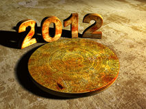Maya prophecy. Stone Maya calendar and numbers 2012. 3d Stock Photography