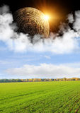 Maya prophecy. Vertical background with Maya calendar and autumn landscape Stock Image
