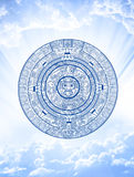 Maya prophecy. Vertical background with Maya calendar and sky Royalty Free Stock Image