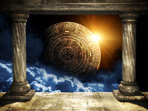 Maya prophecy. Frame with two old columns and Maya calendar Royalty Free Stock Images