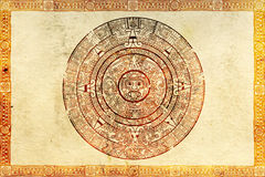 Maya prophecy. On ancient parchment stock illustration