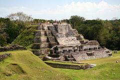 Maya Pyramid. Vintage maya pyramid in Central America stock photography