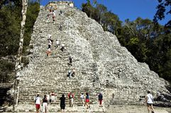 Maya pyramid 2. Tourists hardly making it to the top of the Coba Main pyramid, highest Maya structure standing 40 Meters above the Yucatan jungles, MAYA here royalty free stock photos