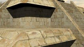 Maya pyramid - 3D render. Zoom out on Maya pyramid by cloudy day vector illustration