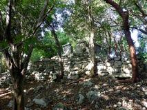 Maya pyramid temple ruins in Yucatan, Mexico. Maya pyramid temple ruins in Yucatan in Mexico stock photos